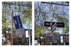 Nomenclatura de la calle Saturio Ríos reparada luego de meses.