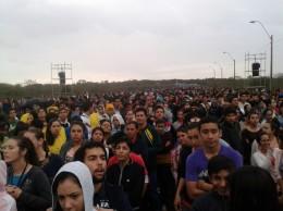 Imagen de lo que fue la convocatoria en Ñu Guazú. (Foto gentileza, Araceli Duarte PJVR).