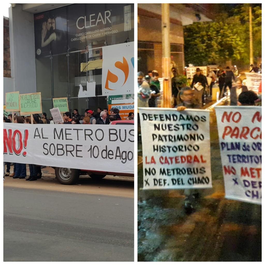 Frentistas y vecinos de la avda. Defensores del Chaco y la calle 10 de Agosto no quieren que sus calles sean utilizadas como vía excusiva para el Metrobus y reclaman mas informacion