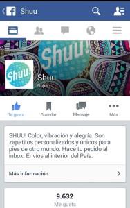 """Captura de pantalla de la página en facebook de """"Shuu""""."""