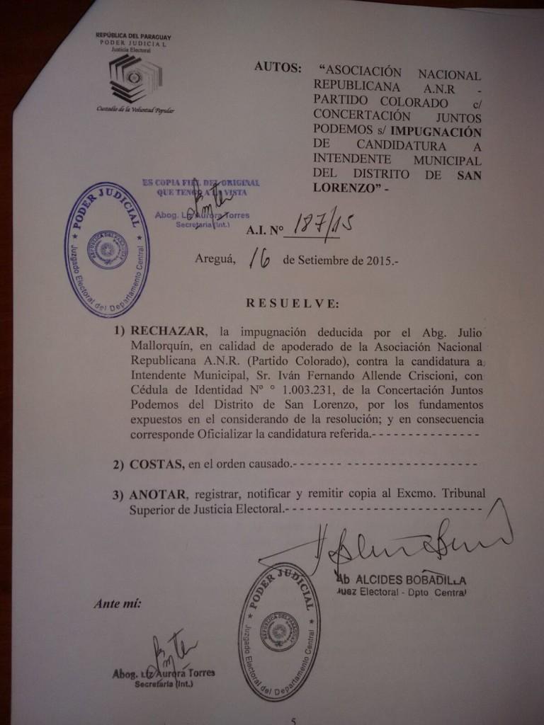 La notificacion que confirma la candidatura de Allende fue emita hoy 16 de setiembre