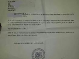 Imagen de notificacion enviada a propietarios de casillas ubicadas legalmente dentro del mercado