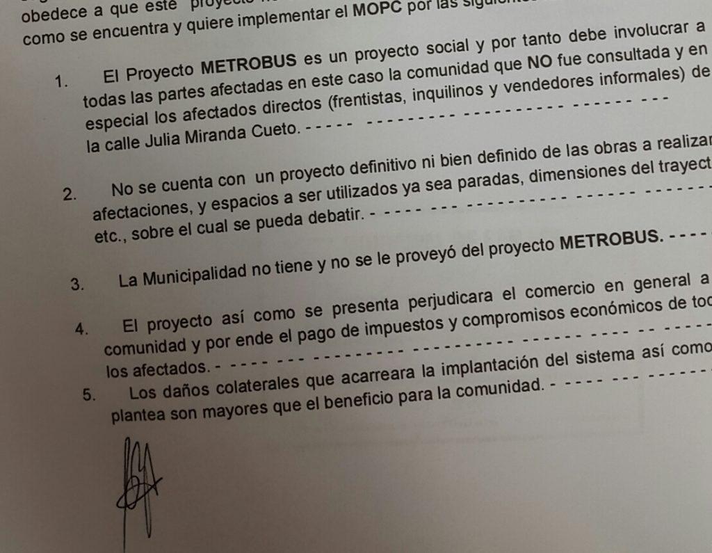 Cinco de los siete cuestionamientos que figura en la nota enviada a la Junta Municipal.