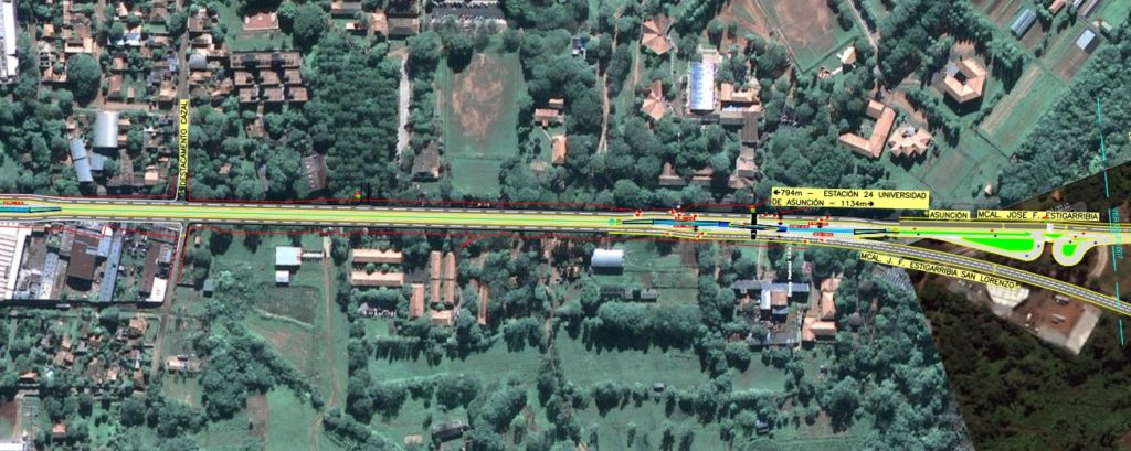 Plano donde se observa la parada N° 24 que estará en el frente de la UNA